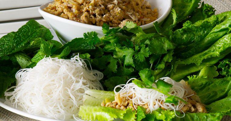 Laotian Chicken Larb Wraps