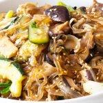 mushroom japchae noodles