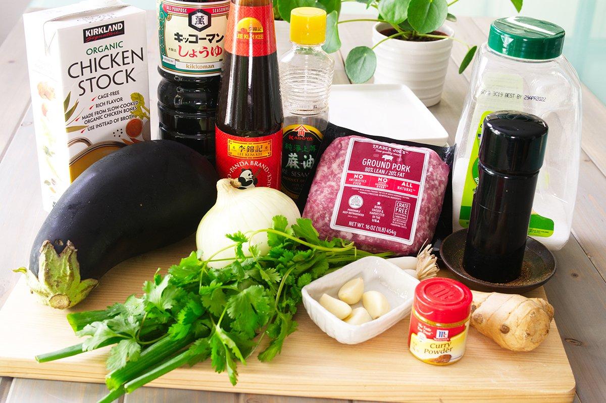 curried eggplant and pork ingredients