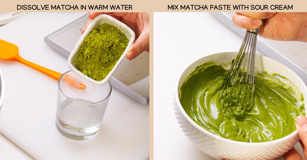 matcha cake warm water