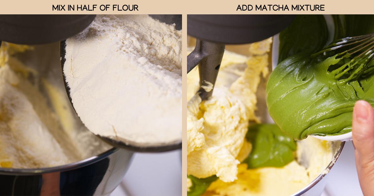 matcha cake mixing