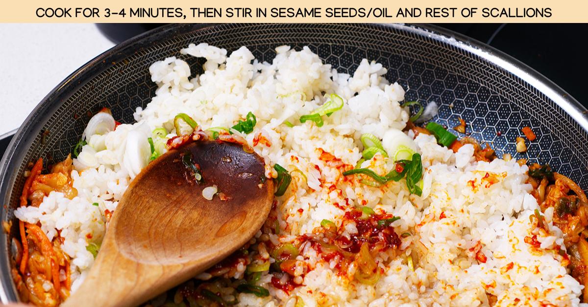 stirring kimchi rice