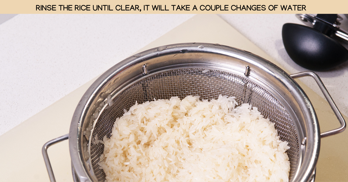 rinsing coconut rice