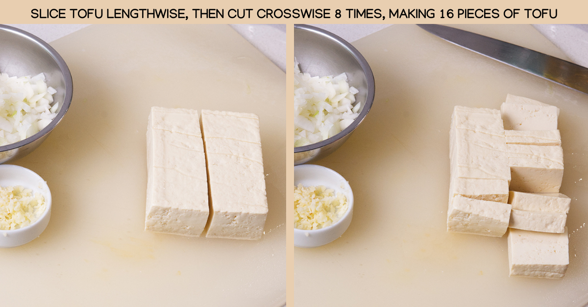 slice sriracha tofu