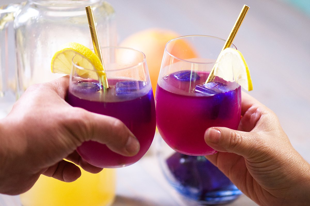 cheers butterfly pea cocktails