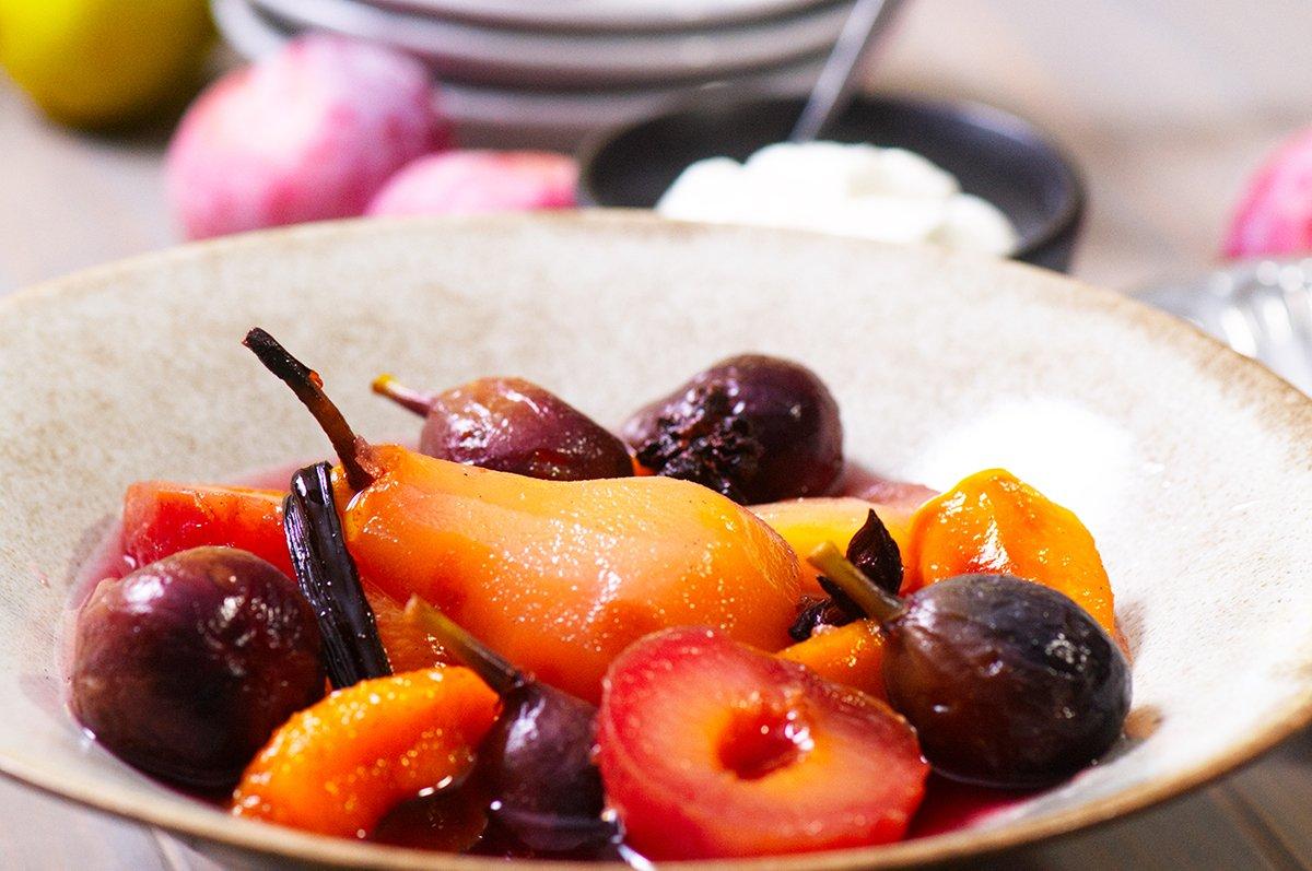 beauty poached fruit