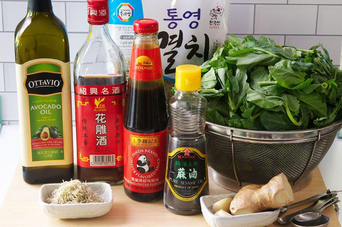 stir fried pea shoots ingredients