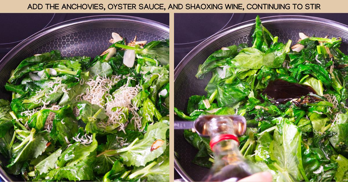 anchovies stir fried pea shoots